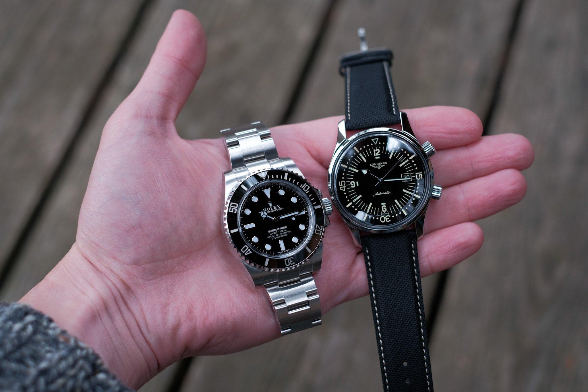 Longines Legend Diver рядом с Rolex Submariner