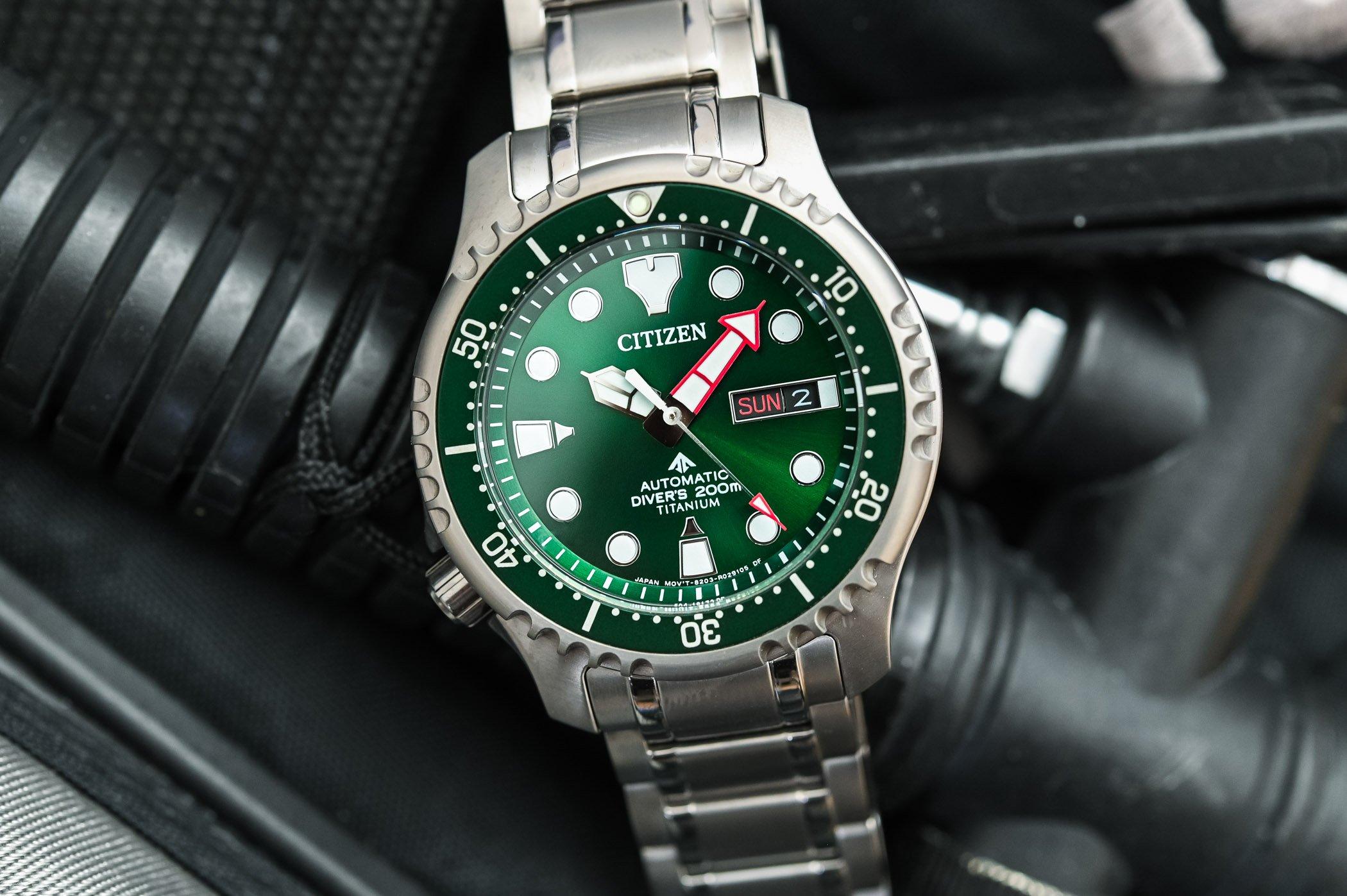 Citizen Promaster Marine Automatic Diver 200m Super Titanium Green Dial NY0100-50XE